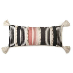 Braided Lumbar Pillow, Blush & Black - 12x30 - Briddick Tile + Stone