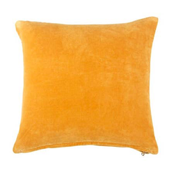 Lush Velvet Cushion, Mustard_18x18 Inches