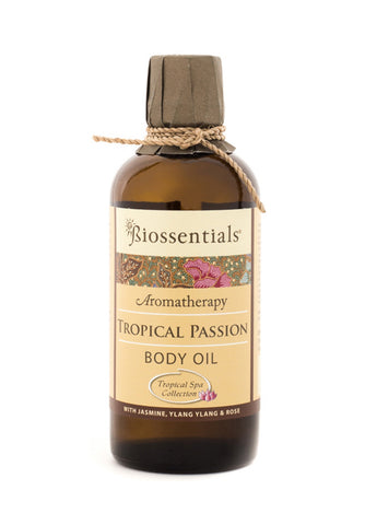 <strong>Biossentials Body & Massage Oil </strong><br/><strong>TROPICAL PASSION</strong><br/><p>    Jasmine, Rose, Ylang Ylang</p>