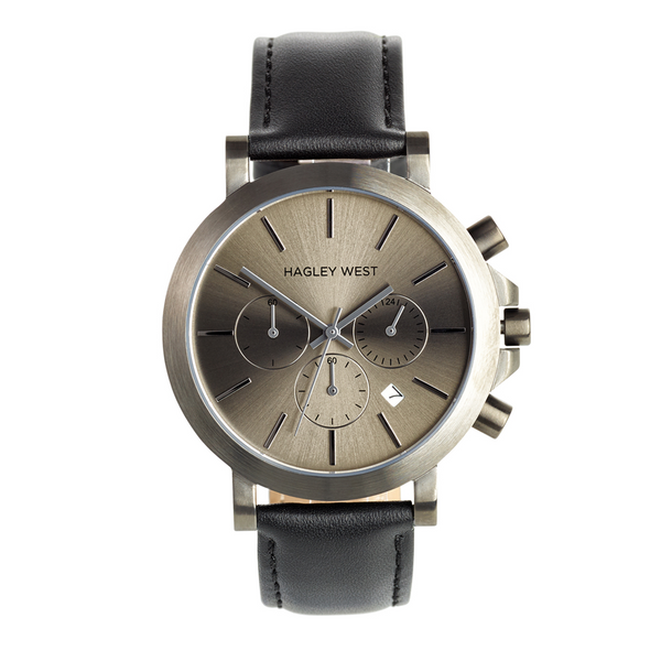 Chrono - HWW008 | Gun Metal/Black Leather