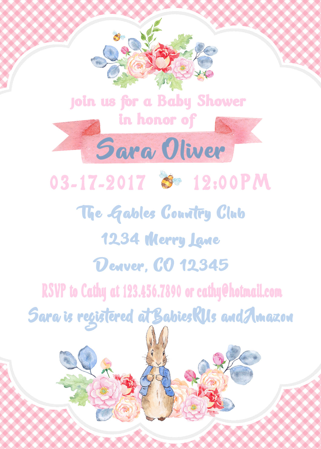 PETER RABBIT FLORAL - BABY SHOWER INVITATIONS