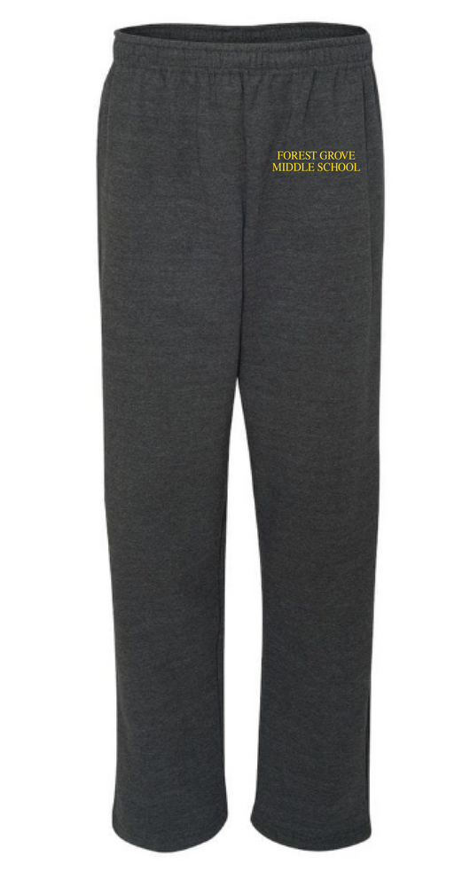 FG- g184 Charcoal grey open bottom sweatpants  embroidered left hip  Adult