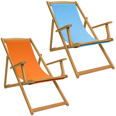 Folding FSC Eucalyptus Wooden Deck Chair