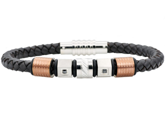 Mens Brown Leather And Chocolate Stainless Steel Bracelet With Brown Cubic Zirconia