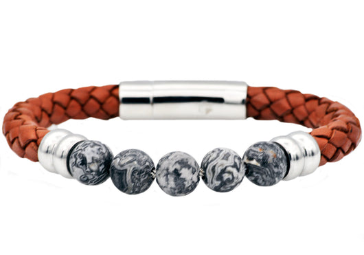 Mens Genuine Gray Jasper And Brown Leather Stainless Steel Beaded Bracelet