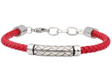 Mens Red Leather Stainless Steel Bracelet