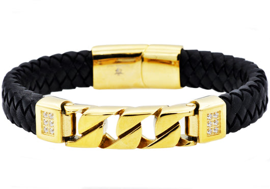 Mens Black Leather And Gold Plated Stainless Steel Imitation Curb Link Bracelet With Cubic Zirconia