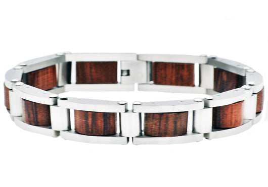 Mens Stainless Steel And Wood Bracelet