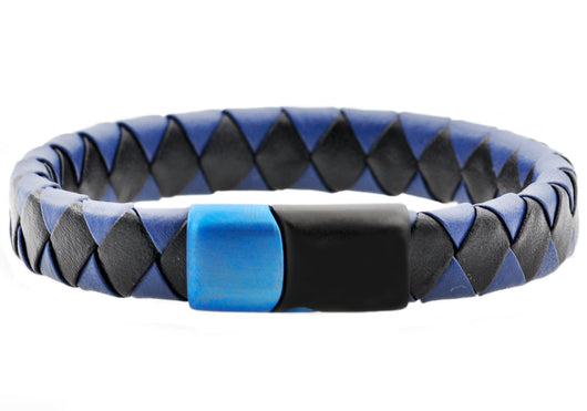 Mens Black And Blue Leather Black And Blue Plated Stainless Steel Bracelet