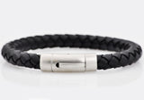 Mens Black Leather Stainless Steel Extendable Bracelet