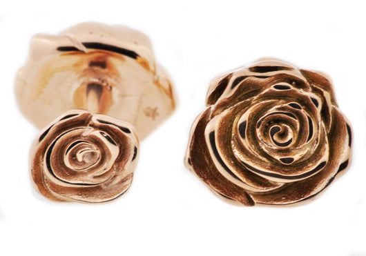 Mens Rose Plated Stainless Steel Rose Cuff Links