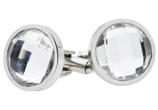 Mens Stainless Steel Cuff Links With Clear Crystals