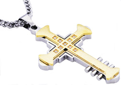 Mens Gold Plated Stainless Steel Cross Pendant With Cubic Zirconia