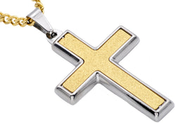 Mens Sandblasted Gold Plated Stainless Steel Cross Pendant