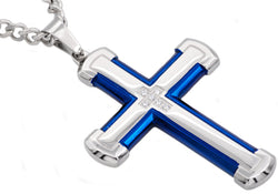 Mens Blue Plated Stainless Steel Cross Pendant With Cubic Zirconia
