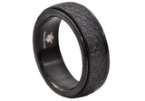 Mens Black Plated Stainless Steel Spinner Band