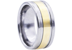Mens Gold Plated Tungsten Band Ring