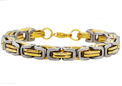 Mens Gold Plated Stainless Steel Byzantine Link Chain Bracelet