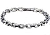 Mens Stainless Steel Square Link Chain Bracelet
