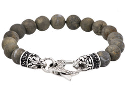 Mens Genuine Pyrite Stainless Steel Beaded Bracelet With Black Cubic Zirconia