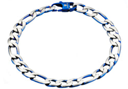 Mens Blue Plated Stainless Steel Figaro Link Chain Bracelet