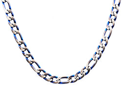 Mens Blue Plated Stainless Steel Figaro Link Chain Necklace