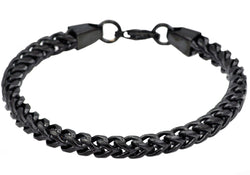 Mens Black Plated Stainless Steel Franco Link Chain Bracelet