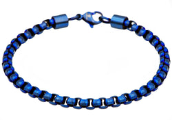 Mens Blue Plated Stainless Steel Rolo Link Bracelet