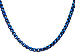 Mens Blue Plated Stainless Steel Rolo Link Chain Necklace