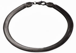 Mens Black Plated Stainless Steel Flat Snake Link Chain Bracelet