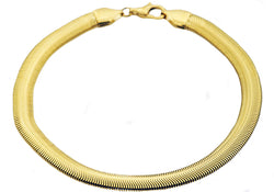Mens Gold Plated Stainless Steel Flat Snake Link Chain Bracelet