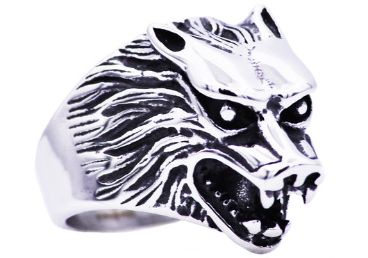 Mens Stainless Steel Wolf Ring