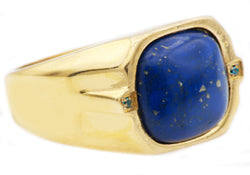Mens Lapis Lazuli And Gold Plated Stainless Steel Ring With Blue Cubic Zirconia