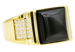 Mens Genuine Onyx And Gold Plated Stainless Steel Ring With Cubic Zirconia
