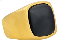 Mens Onyx And Gold Plated Stainless Steel Ring