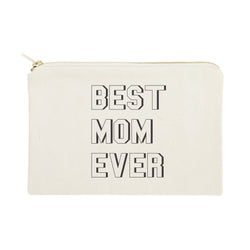 Modern Best Mom Ever Cotton Canvas Cosmetic Bag - The Cotton and Canvas Co.