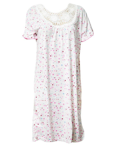 Printed White Long Nighty With Pink Dotted 111.3 - Women Nightdress