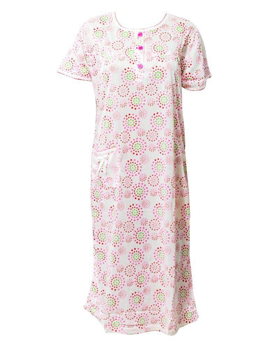 White Long Nighty Printed & Side Pocket  Red Shade 4014 -  Women Nightdress
