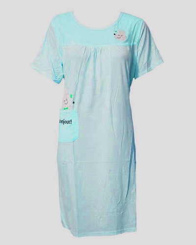 FiroziLong Nighty Plained & Side Pocket 101 -  Women Nightdress
