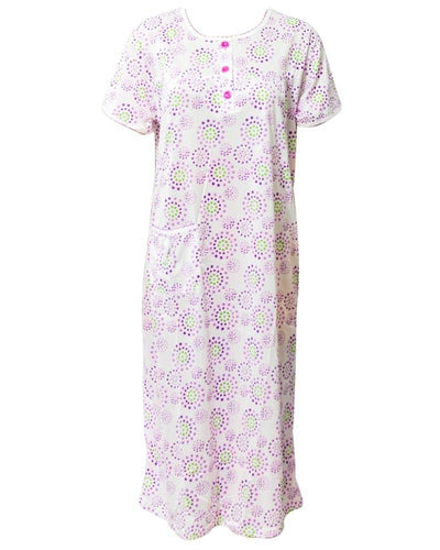 White Long Nighty Printed & Side Pocket  Purple Shade 4014 -  Women Nightdress