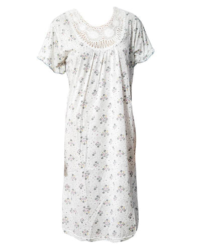 Stylish White Long Nighty With Grey Flower Print 111.9 - Women Nightdress