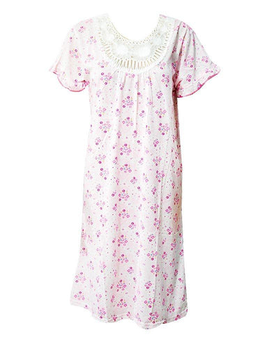 Stylish White Long Nighty With Pink Flower Print 111.9 - Women Nightdress