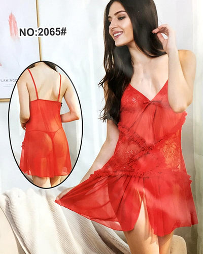 Bridal Sexy Cotton Net Short Nighty For Women - 2065#