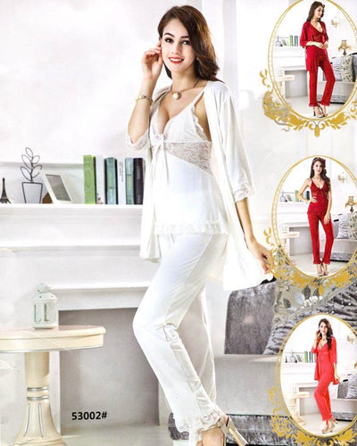 3 Pcs Slik Ladies Nightwear - 53002