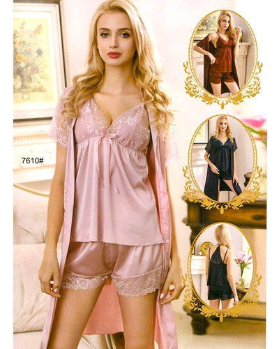 3 Pcs Sexy Slik Short Nighty With Gown - 7610