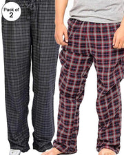 Pack of 2 - Men's Cotton Check Pajama - Cotton Yarn Dyed Flannel Men's Pajama MF-01