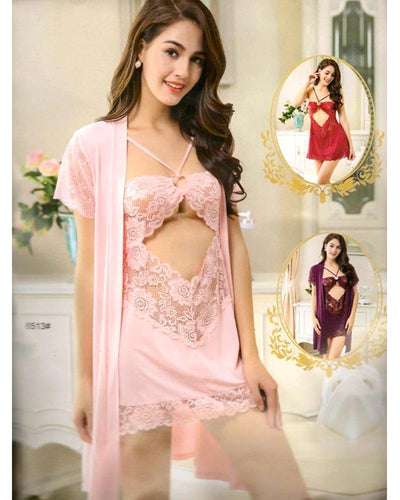 3 Pcs Sexy Short Nighty - 6513