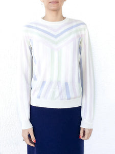 Cream Aztec Stripe Cashmere Sweater - Debs Boutique