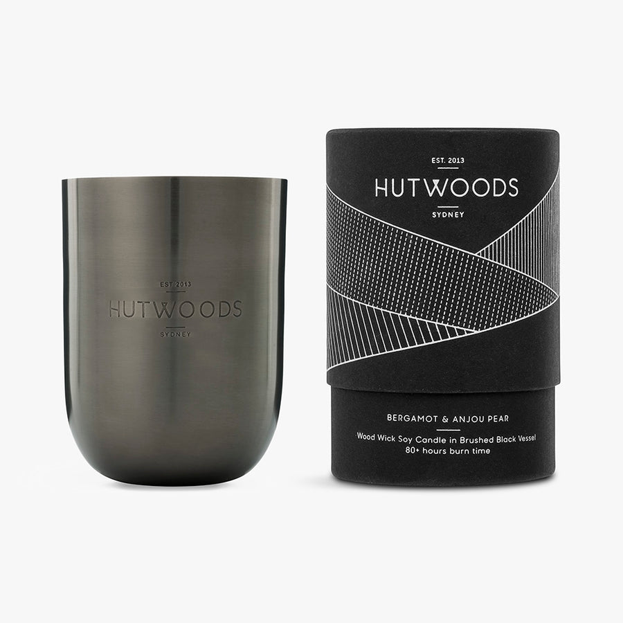 Hutwoods Bergamot & Anjou Pear wood wick candle in brushed black Jar with seeded paper to grow a herb - 80 hours long lasting burn time