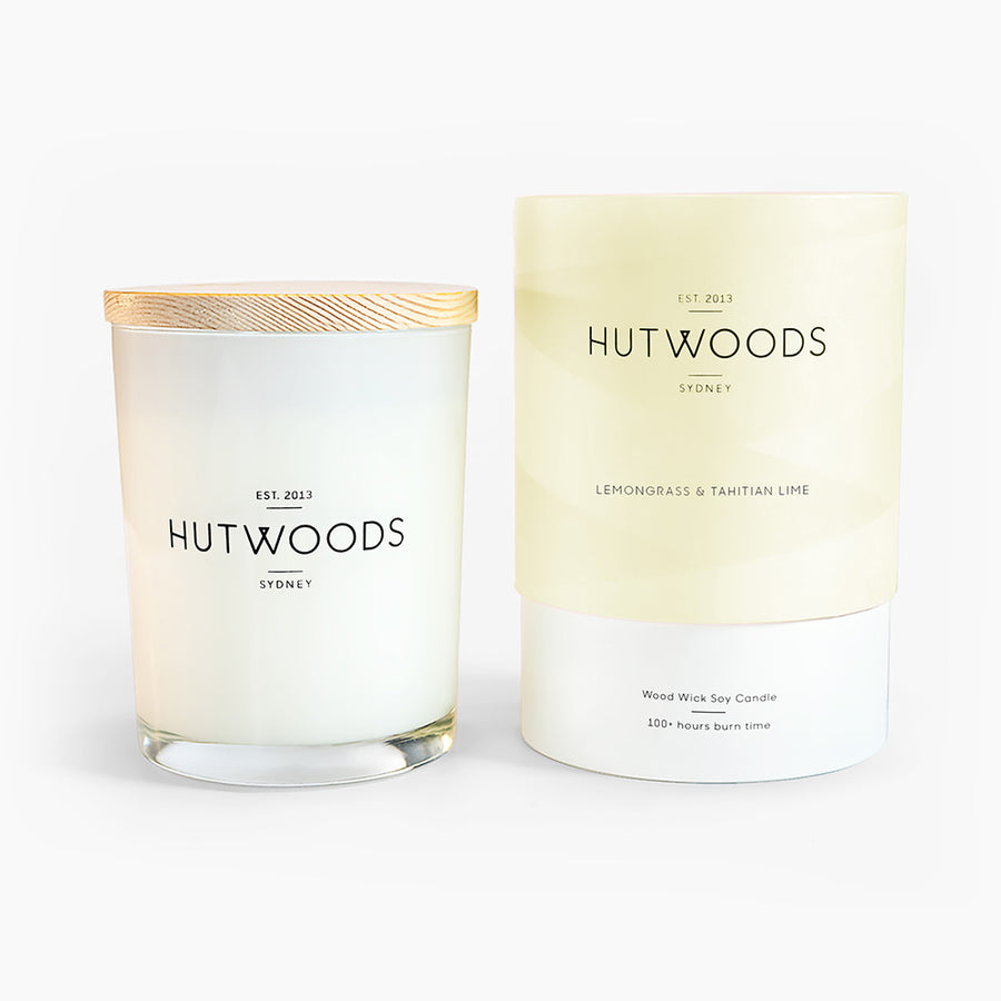 Hutwoods Large Lemongrass & Tahitian Lime scented Wood Wick Natural Soy Wax Candle - Burn time 100 hours longer lasting